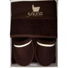 Коричневый мужской банный комплект Sauna Dufour