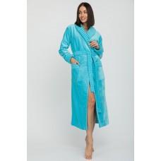 Махровый халат с шалькой Ultra Doux (PM France 742) (бирюзовый)