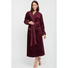 Махровый халат с шалькой Ultra Doux (PM France 742) (сливовый)