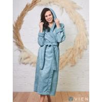 Бамбуковый женский халат Belinda с капюшоном (EFW) (ниагара)