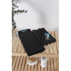 Махровое полотенце антикраска Indanthren с высокой износостойкостью (черный)