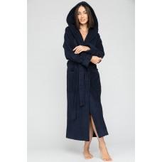Женский махровый халат с капюшоном Sport&Style (Е 903) (темно-синий)