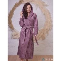 Бамбуковый женский халат Belinda с капюшоном (EFW) (слива)