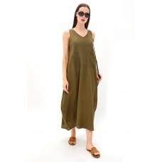 Платье из льна и вискозы Be Free (PM France 229) (оливка)