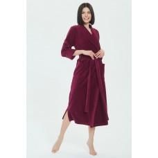 Удлиненный велюровый халат Curves (E 383) (рубиновый)