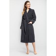 Женский махровый халат Grey Queen (E 305) (темно-серый)