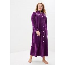 Велюровый халат на пуговицах AURORE (PM France 391) (фиолетовый)