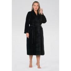 Удлиненный велюровый халат Curves (E 383) (черный)