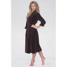 Удлиненный велюровый халат Curves (E 383) (шоколадный)