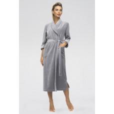 Удлиненный велюровый халат Curves (E 382) (серый)