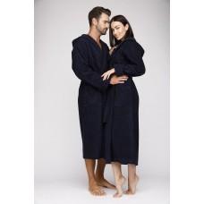 Женский махровый халат с капюшоном Sport&Life (Е 901) (темно-синий)