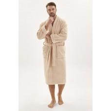 Махровый халат из micro-cottona высокой плотности  Wanted (PM 950) (песочный)