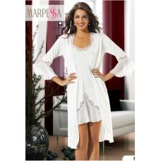 Комплект из пеньюара и сорочки Monica. 2-а предмета (нежно-белый)