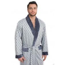Мягкий велюровый халат из бамбука CRISTOF (EPP M122) (серый комбинированный)