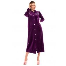 Удлиненный велюровый халат на пуговицах AURORE (PM 391) (фиолетовый)