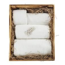 Эксклюзивный набор: полотенца в деревянной коробке ручной работы Towel Gift Box (EVA) (белый, оливковый, черный, серый (антрацит))