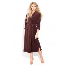 Удлиненный велюровый халат (E 383) (шоколадный)